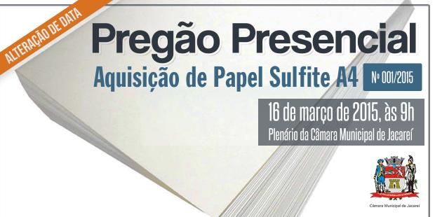 PREGÃO PRESENCIAL Nº 001/2015